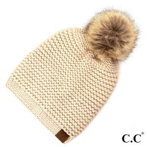 HAT-712: Adjustable drawstring slouchy C.C Beanie with faux fur pom. 100% acrylic.