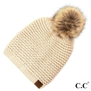 C.C HAT-712 Adjustable slouchy beanie with faux fur pom  - One size fits most - 100% Acrylic