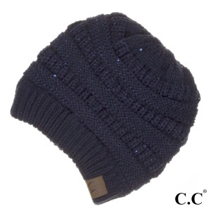 94b9ef25e63 HAT-730  Cable knit original C.C beanie style with sequin accents. 100%