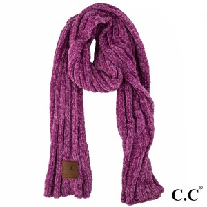 "C.C SF-30 Chenille ribbed oblong scarf  - 100% Chenille  - W:17"" X H:78"""