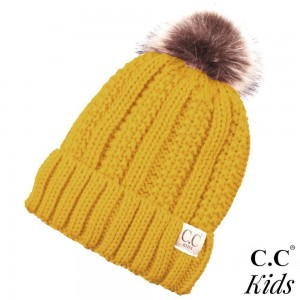 """C.C KIDS-820 Solid ribbed kids beanie with pom and fuzzy lining  - 100% Acrylic - Band circumference is approximately:  14"""" unstretched  18"""" stretched - Approximately 7"""" long from crown to band - Fit varies based on child's head height and shape"""