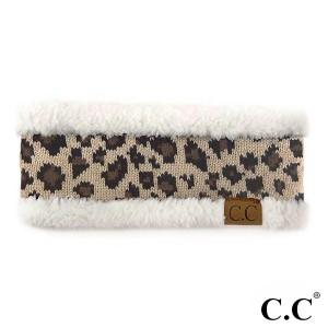 HW-45: C.C head wrap with leopard print detail. 100% acrylic.