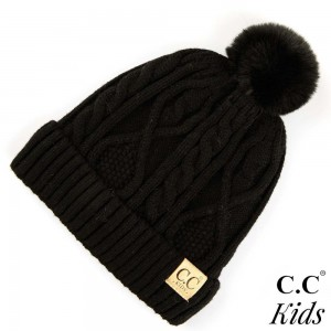 """C.C KIDS-28 Solid color cable knit kids beanie with faux fur pom and lining inside  - 50% Viscose, 30% Polyester, 20% Acrylic - Band circumference is approximately:  14"""" unstretched  18"""" stretched - Approximately 7.5"""" long from crown to band - Fit varies based on child's head height and shape"""