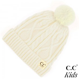 "KID-28: Chunky cable knit C.C Beanie with pom-pom. 50% Viscose, 30% Polyester, 20% Acrylic. Measures 7"" in diameter and 8"" in length. Approximate fit: 4 to 7 years of age."