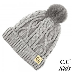 C.C KIDS-28 Solid color kids beanie with faux fur pom and lining inside  - 50% Viscose, 30% Polyester, 20% Acrylic - One size fits most
