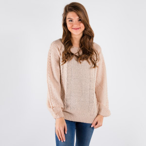Knit sweater that can be worn on or off the shoulder.   - One size fits most 0-14 - 55% Acrylic, 45% Cotton