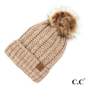 C.C YJ-820 MIX  Fuzzy lined beanie with faux fur pom  - 100% Acrylic - One size fits most