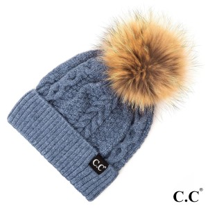 C.C HAT-1915 Cable beanie with real fur pom  - One size fits most - 20% Angora, 80% Acrylic