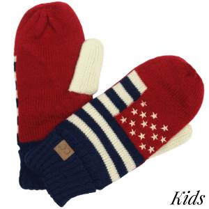 C.C G-4 KIDS American flag knit mittens   - 100% Acrylic - One size fits most