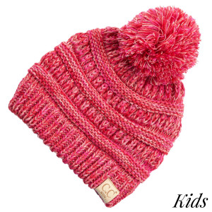 C.C YJ-816KIDS POM Four tone ribbed knit beanie with pom for kids  - 100% Acrylic - One size fits most