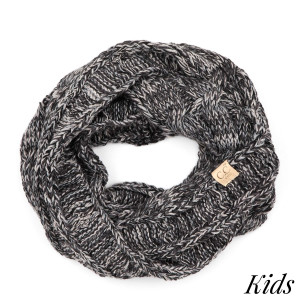 "C.C SF-816 KIDS Multicolor cable knit infinity scarf for kids  - 100% Acrylic - W: 9"" X L: 51"""