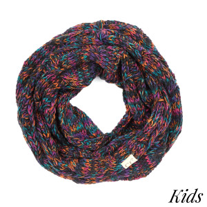 SF-816-KIDS-CC Multi color cable knit infinity scarf. 100% Acrylic- One size.