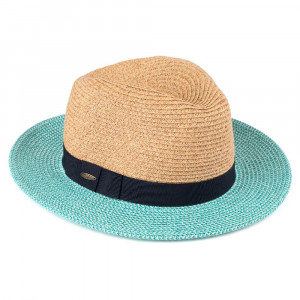 ST-508-CC color brim straw panama hat with ribbon band. 80% paper-20% polyester. One size.