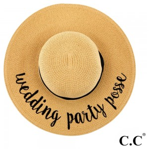 """C.C ST-2017, wide-brim floppy beach hat featuring """"Wedding Party Posse"""". This hat is crushable/packable and able to hold it's shape. Brim measures 4"""" in width and hat is 15.5"""" in total diameter. UPF 50+  One size fits most.  Composition: 100% Paper."""