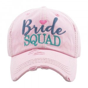 """""""Bride Squad"""" embroidered, vintage style ball cap with washed-look details.   - 100% cotton  - Adjustable back strap  - One size fits most"""