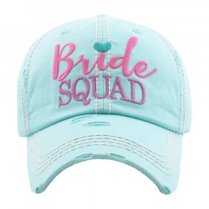 """Bride Squad"" embroidered, vintage style ball cap with washed-look details.   - 100% cotton  - Adjustable back strap  - One size fits most"