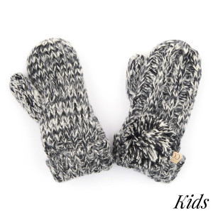 C.C MT-23-KIDS Two tone pom kids gloves with fuzzy lining  - 100% Acrylic - One size fits most