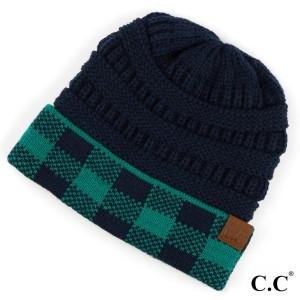 C.C HAT-82  Buffalo check pattern cuff beanie  - 100% Acrylic - One size fits most