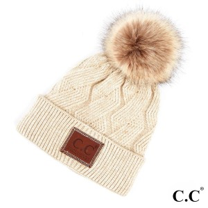 C.C HAT-2298  Geometric cable beanie with faux fur pom   - 100% Acrylic - One size fits most