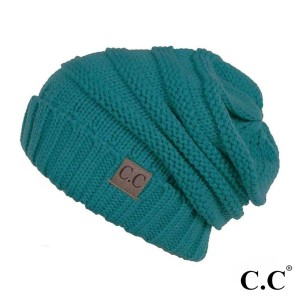 C.C HAT-100  Ribbed knit slouchy beanie  - 100% Acrylic - One size fits most