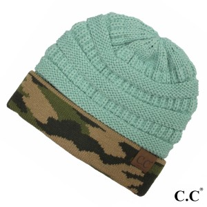 C.C HAT-46 Ribbed knit camouflage cuff beanie  - 100% Acrylic - One size fits most