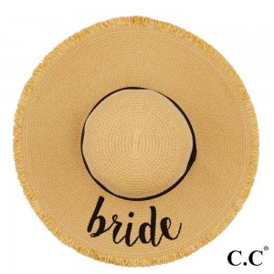 "C.C ST-2025 (Natural) Bride paper straw fringe trim wide brim sun hat with ribbon  - One size fits most - Inside adjustable drawstring - Brim width 4.5"" - 100% Paper"