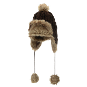 Brown knit toboggan with faux fur. Acrylic and polyester blend. One size fits most.