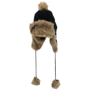 Black knit toboggan with faux fur. Acrylic and polyester blend. One size fits most.