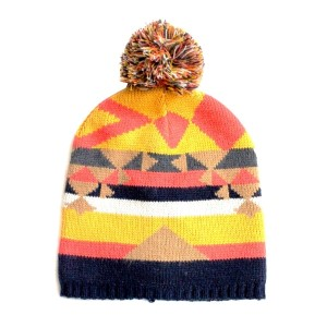 Orange, yellow, and black aspen pattern toboggan hat. 100% Acrylic. One size fits most.