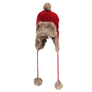 Red knit toboggan with faux fur. Acrylic and polyester blend. One size fits most.