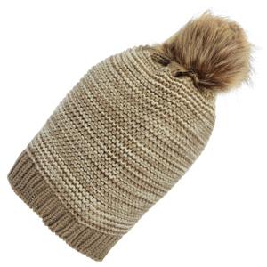 Beige knit toboggan with a faux fur pom pom. 100% Acrylic. One size fits most.