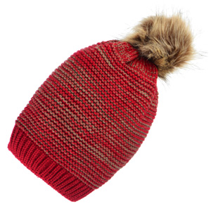 Red knit toboggan with a faux fur pom pom. 100% Acrylic. One size fits most.