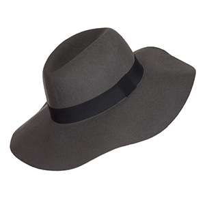 "Gray wide brim fedora with a black ribbon at the base. 3 3/4"" brim. 100% wool. One size fits most."