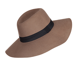"Camel wide brim fedora with a black ribbon at the base. 3 3/4"" brim. 100% wool. One size fits most."
