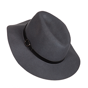 Charcoal gray wool hat with faux leather buckle. 100% wool.