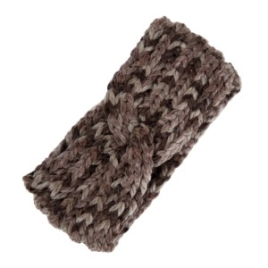 Brown and taupe knit head wrap. 100% polyester.
