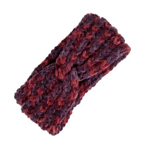 Burgundy and red knit head wrap. 100% polyester.