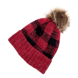 Black and red checked, fleece lined toboggan with a brown fur pom pom.
