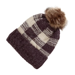 Burgundy and ivory checked toboggan with a brown fur pom pom.