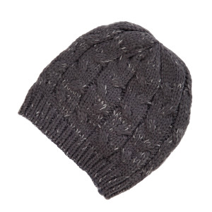 Gray cable knit beanie. 100% acrylic.