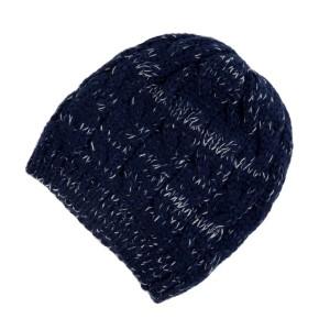 Navy blue cable knit beanie. 100% acrylic.