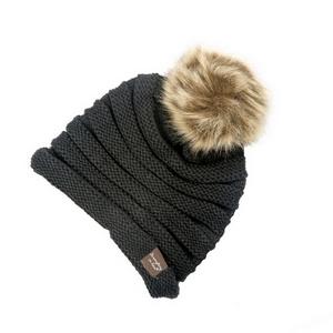 Black, knit beanie with a faux fur pom pom. 100% acrylic.