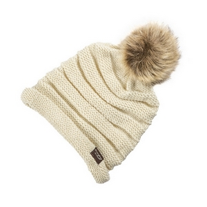 Ivory, knit beanie with a faux fur pom pom. 100% acrylic.