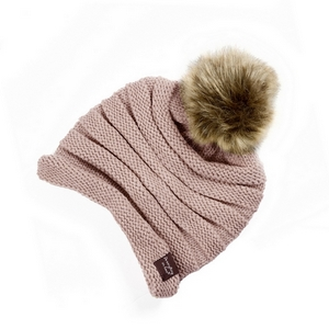Dust pink, knit beanie with a faux fur pom pom. 100% acrylic.