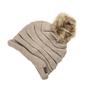 Taupe, knit beanie with a faux fur pom pom. 100% acrylic.