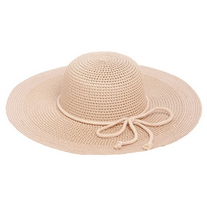 "Blush pink wide-brimmed hat with a bow accent. 70% paper and 30% polyester. Hat brim is approximately 17"" in diameter."