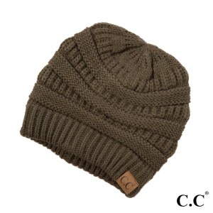 "The original C.C beanie style in new olive. 100% acrylic. Measures 9.5"" in diameter and 8"" in length."