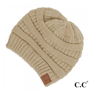 "The original C.C beanie style in beige. 100% acrylic. Measures 9.5"" in diameter and 8"" in length."