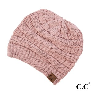 "The original C.C beanie style in rose. 100% acrylic. Measures 9.5"" in diameter and 8"" in length."