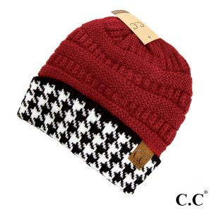 C.C HAT-12  Houndstooth ribbed beanie  - 100% Acrylic - One size fits most - Matches C.C CG-12 and SF-12